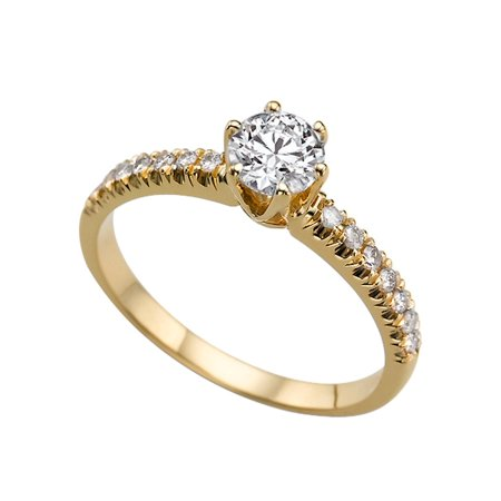 1.64ctw Lab Created White Sapphire and Diamonds Ring Yellow Gold 14K 6 prongs (14k White Gold Twin Prong)