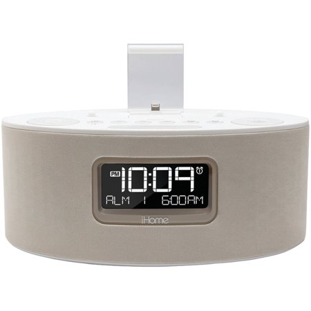 iHome IDL46WHC Apple iPad iPhone iPod Dual Charging Stereo FM Clock Radio with Lightning Connector, White by