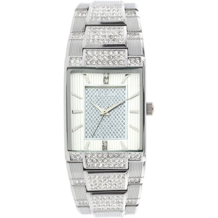 Elgin Mens Silver Tone White Dial Crystal Accented Bracelet Watch