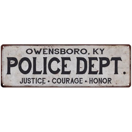 OWENSBORO, KY POLICE DEPT. Home Decor Metal Sign Gift 6x18 206180012621 ()