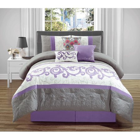 Wpm 7 Pieces Complete Bedding Ensemble Beige Lavender Purple Grey Luxury Embroidery Comforter Set Bed In A Bag Queen Or King Size Montreal