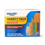 Equate Antibacterial Assorted Bandages Variety Pack, 120 Count