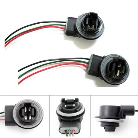 iJDMTOY (2) 3156 3157 Wiring Harness Sockets For LED Bulbs, Turn Signal Lights, Brake