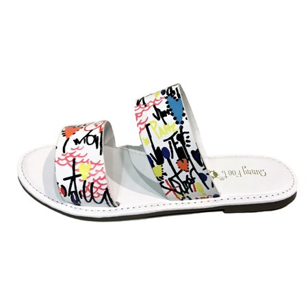 a28caf3e81f9 Sunny Feet - Coastline-76s Women Open Toe Slip On Double Band Flip Flops  Slide Flat Sandal Graffiti White - Walmart.com