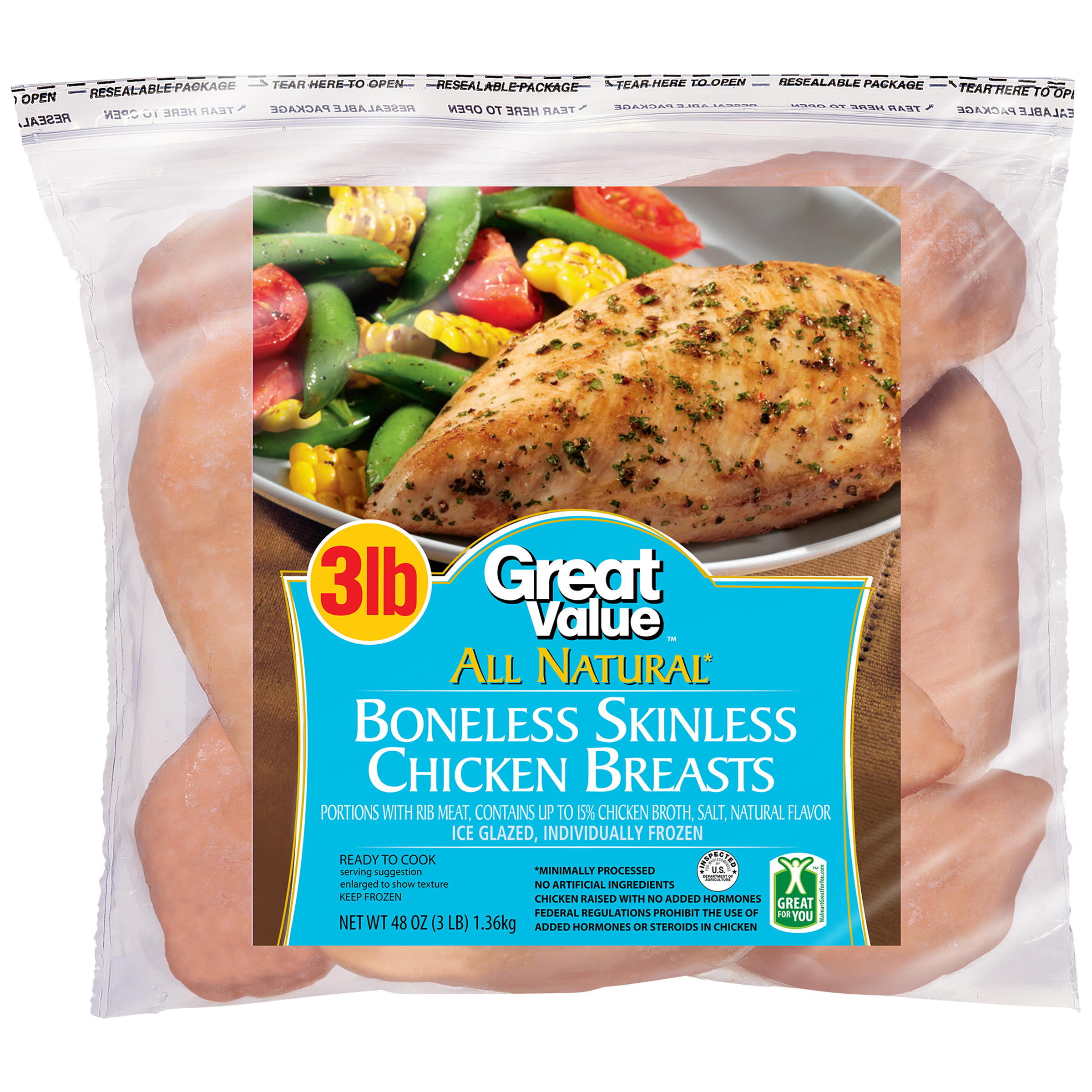 Great Value™ Boneless Skinless Chicken Breasts 48 oz. Bag