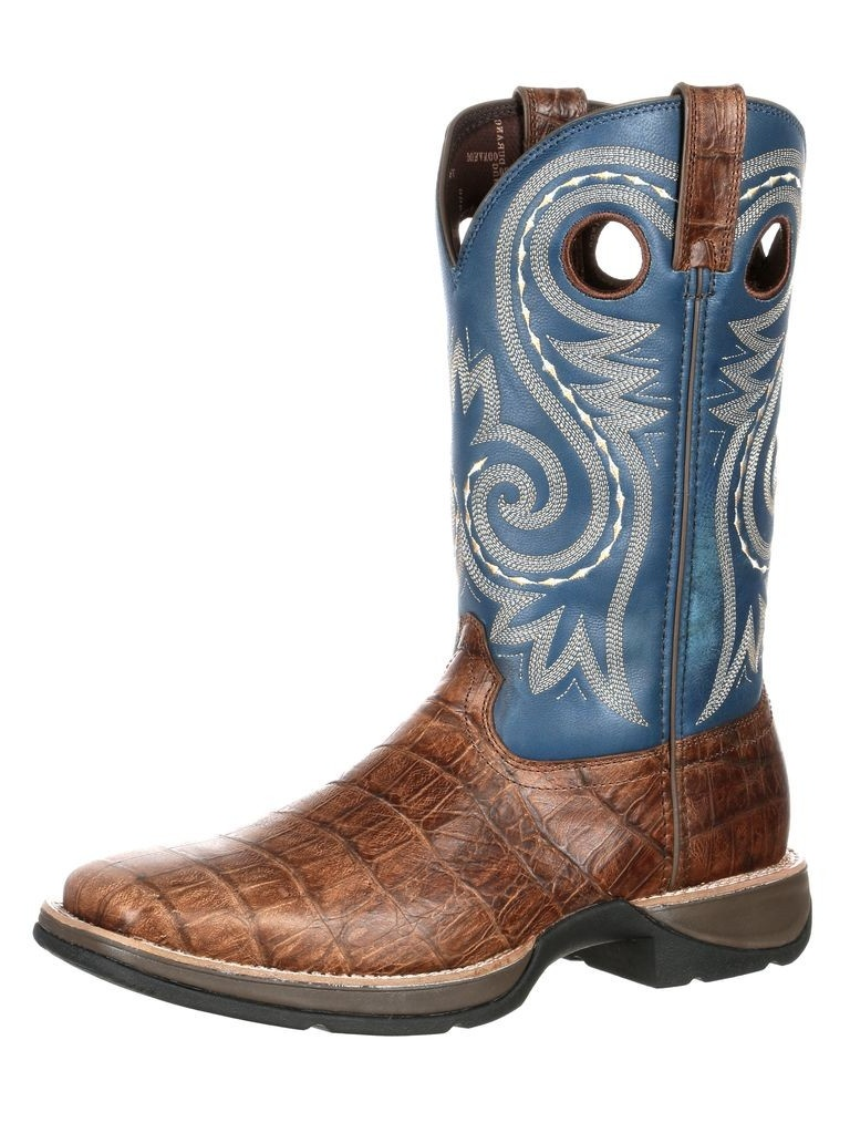 Durango Western Boots Mens Rebel Gator Embossed Square Brown DDB0096 by Durango