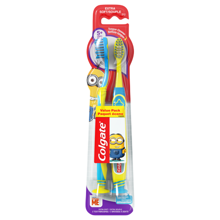 (Pack of 2) Colgate Minions Kids Manual Toothbrushes with Suction Cup, Extra