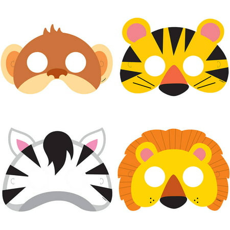 Animal Jungle Party Masks, 8ct (Jungle Parties)