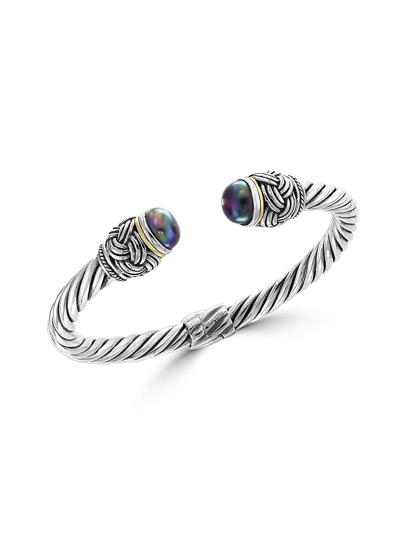 11MM Black Pearl and Goldtone Sterling Silver Bracelet