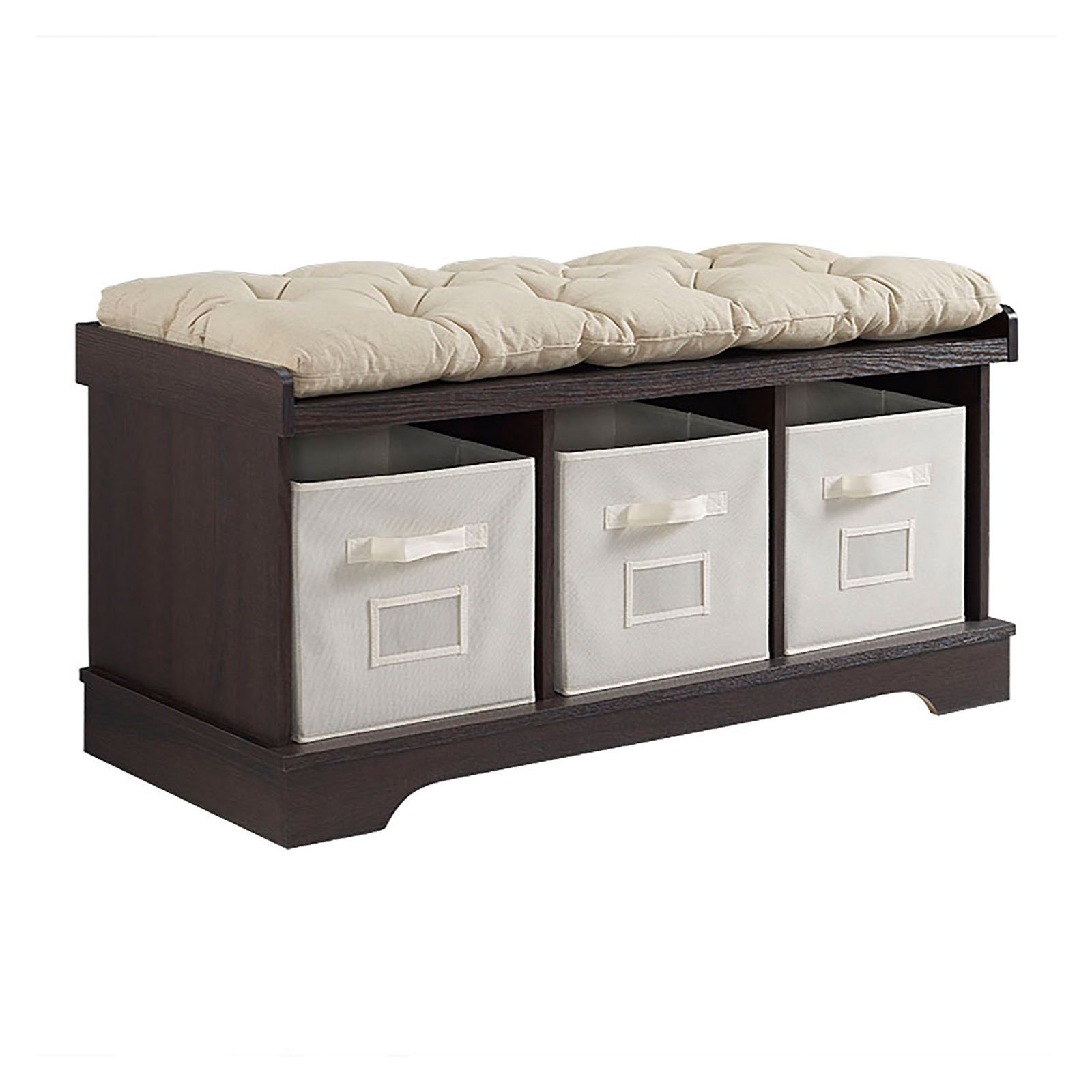 Walker Edison 42 in. Wood Storage Bench with Totes and Cushion