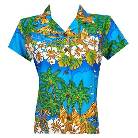 Hawaiian Shirts 44W Womens Floral Scenic Beach Aloha Top Blouse Sky Blue L