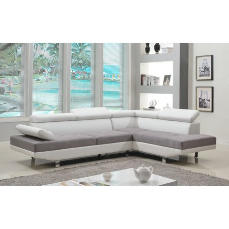 2 Piece Modern Microfiber And Bonded Leather 2 Tone
