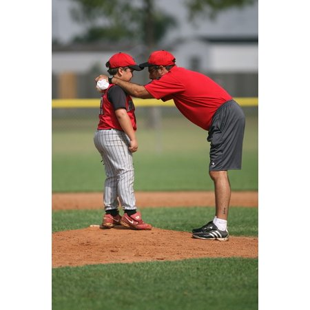Coach Peach (Canvas Print Coach Baseball Pitching Mound Little League Pitcher Stretched Canvas 10 x)
