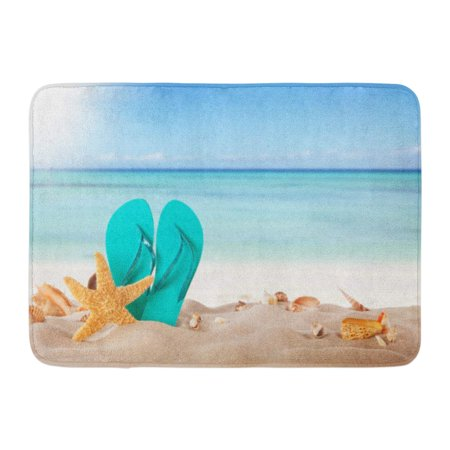 Sandals Rug (GODPOK Aquatic Sand Summer Concept with Sandy Beach Shells and Blue Sandals Conch Sea Rug Doormat Bath Mat 23.6x15.7)