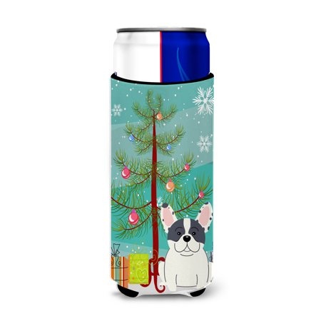 Merry Christmas Tree French Bulldog Piebald Michelob Ultra Hugger for slim cans BB4136MUK