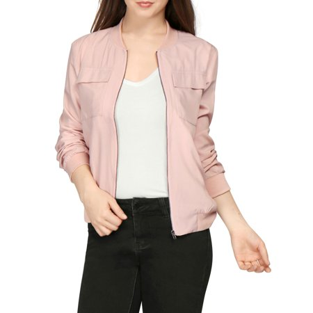 Unique Bargains Women's Zip Fastening Front Multi-Pocket Lightweight Bomber Jacket Pink (Size M / - Light Pink Coat
