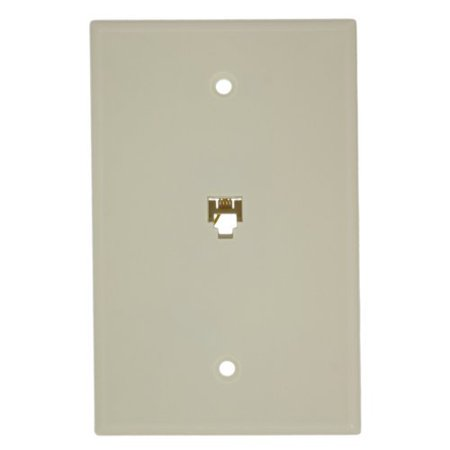 Leviton 40549-A Type 625B4 Telephone Midway Wall Plate Flush Mount Jack 1 Modular 6P4C Jack Screw Terminals Almond