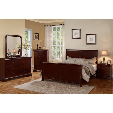 Bedroom Furniture Modern Cherry Queen Size bed Dresser Mirror Nightstand 4pc Set Curved Panel Sleigh (Chest Bed Set)
