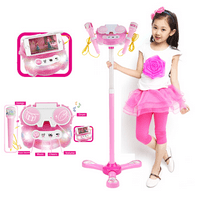 Kidsform Kids Gift Karaoke Singing Machine Toy with Dual Mic Speaker Flashing Stage Light Adjustable Stand +Aplause+ Cheers Connect to Ipa d, Smartphones & MP3 Player