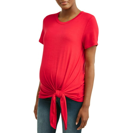 Time and TruMaternity Short Sleeve Tie Front Tee](Maternity Superhero Shirt)