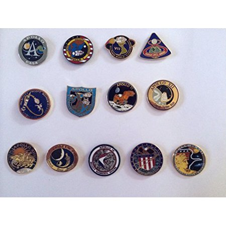 Apollo Program Lapel Pin Set 1,7,8,9,10,11,12,13,14,15,16,17 Armstrong Buzz (Cheap Lapel Pins)