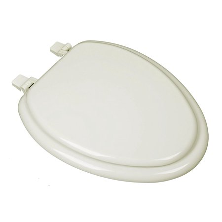 BathDecor Biscuit Molded Wood Elongated Closed Front with Cover Toilet Seat.