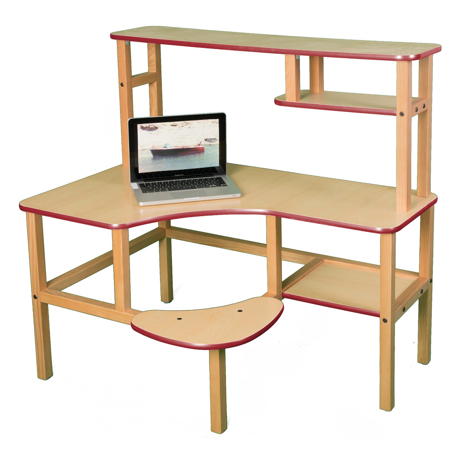Wild Zoo Pre-School Computer Desk with Optional Hutch and Printer Stand - Maple