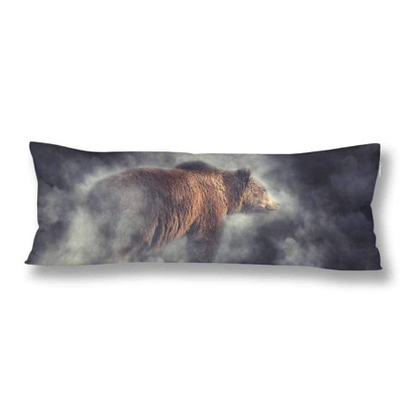 ABPHOTO Big Brown Bear Body Pillow Covers Pillowcase Throw Pillows 20x60 inch ()