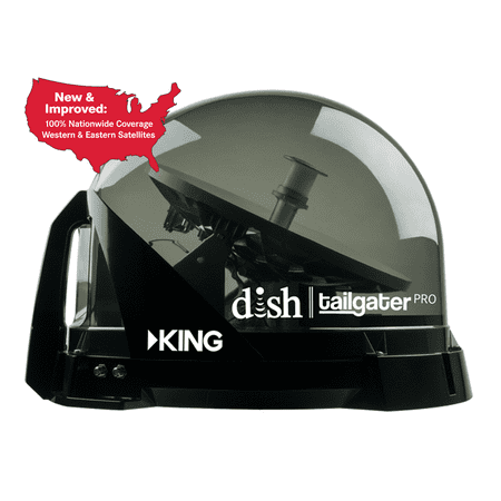 KING DTP4950 DISH Tailgater PRO Bundle - Fully Automatic Premium Portable Satellite TV Antenna with DISH Wally HD Receiver for RVs, Trucks, Tailgating, Camping and Outdoor