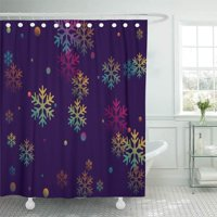 PKNMT Colors Snow Flakes Falling Winter Snowflake Cold Weather Confetti Chaotic Bathroom Shower Curtains 60x72 inch