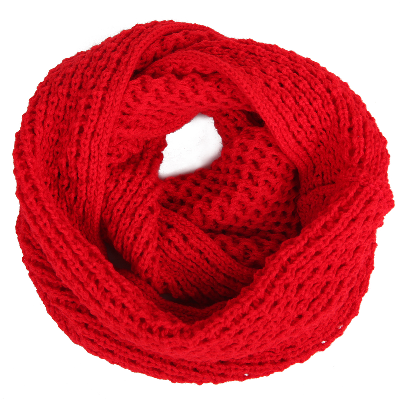 HDE Women's Winter Infinity Scarf Warm Knit Wrap Circle Loop Thick Cowl (Crochet Red)