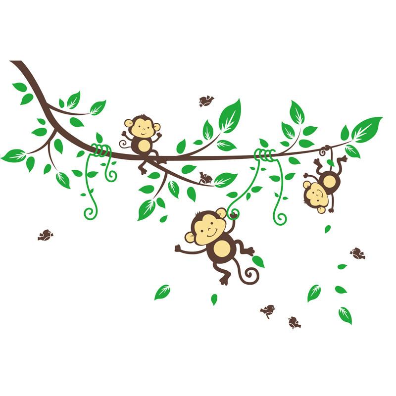 Jungle Monkeys Tree Wall Sticker Decal Kid Nursery Baby Decoration Decal