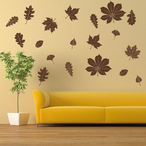 Falling Leaves Wall Decal Vinyl Art Home Decor Pastel orange 39in x 34in