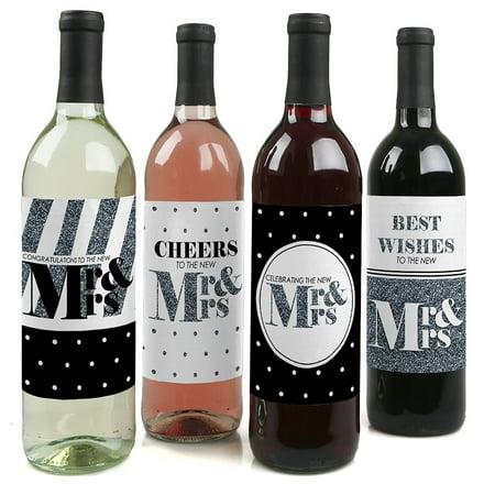 Mr. & Mrs. - Silver - Wedding Wine Bottle Label Stickers - Set of - Wedding Wine Bottle Labels