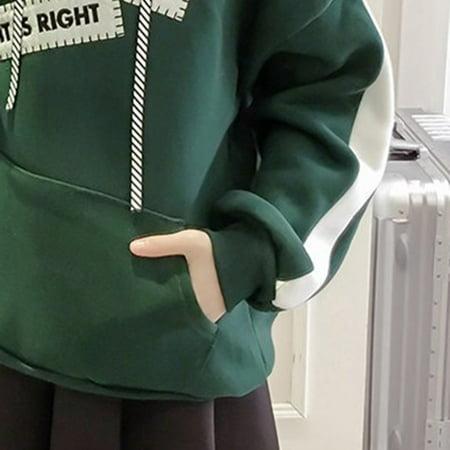 Girl Plus Velvet Sweater Female Thick Warm Hooded Loose Long-sleeved Shirt - image 9 de 9