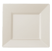 "Kaya Collection - Bone Plastic Square 9.5"" Dinner Plates - Disposable or Reusable - 1 Case (120 Plates)"