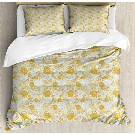 Floral Queen Size Duvet Cover Set, Illustration of Chrysanthemum and Dahlia Flowers Distinct Petal Mark, Decorative 3 Piece Bedding Set with 2 Pillow Shams, Cream and Earth Yellow, by Ambesonne
