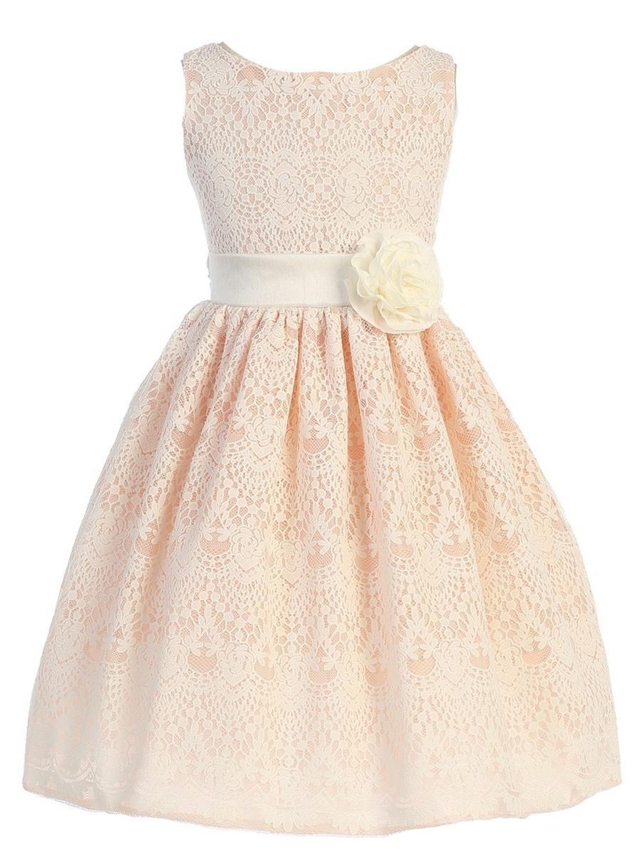 Big Girls Peach Cross Body Rhinestone Chiffon Easter Junior Bridesmaid Dress 14