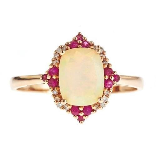 COLOR JEWELS INC D'Yach 14k Rose Gold Cushion-cut Ethiopian Opal, Ruby and Diamond Accent Ring by Overstock