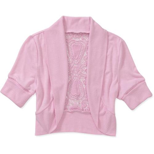 No Boundaries Juniors Shawl Collar Sweater Shrug With Crochet Back