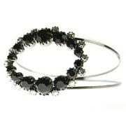 Oval Double Band Crystal Bangle Bracelet, Black