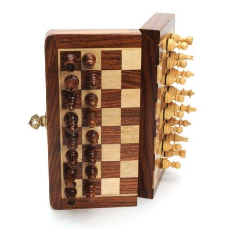 Walnut 7 in  Magnetic Folding Travel Chess Set - Walmart com
