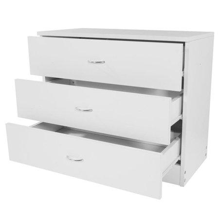 UBesGoo White 3 Drawer Chest Dresser Clothes Storage Bedroom Cabinet