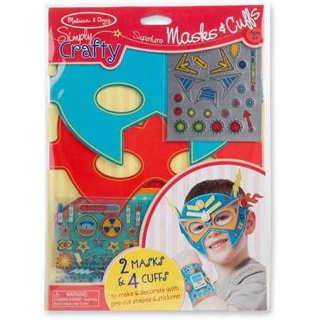 Melissa & Doug Simply Crafty Superhero Masks and Cuffs Kit With Stickers, Shapes, Foam Sticky Tabs