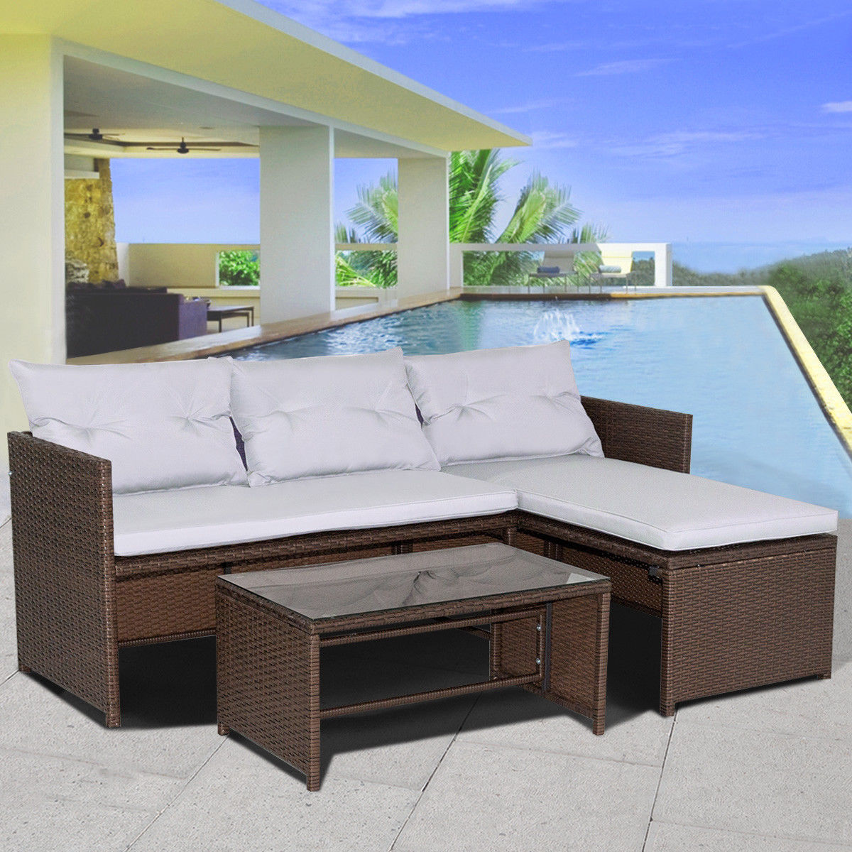 3PC Outdoor Patio Sofa Set Rattan Wicker Deck Couch Garden