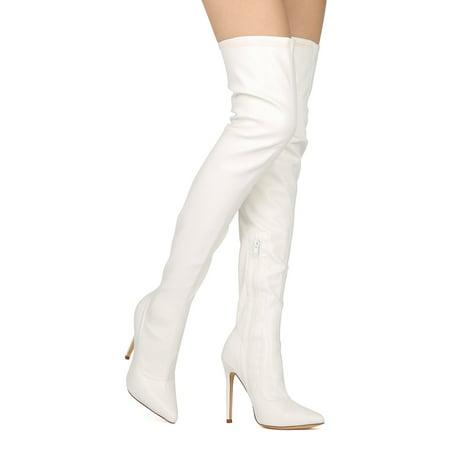 3b62ce69fa2 Liliana - New Women Liliana Gisele-7 Thigh High Pointy Toe Stiletto Boot -  Walmart.com