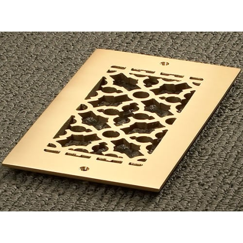 """Reggio Registers 610-BNH Scroll Series 8"""" x 4"""" Floor Grille without Mounting Holes"""