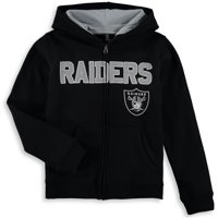 Oakland Raiders Youth Fan Gear Stated Full Zip Team Color Hoodie - Black