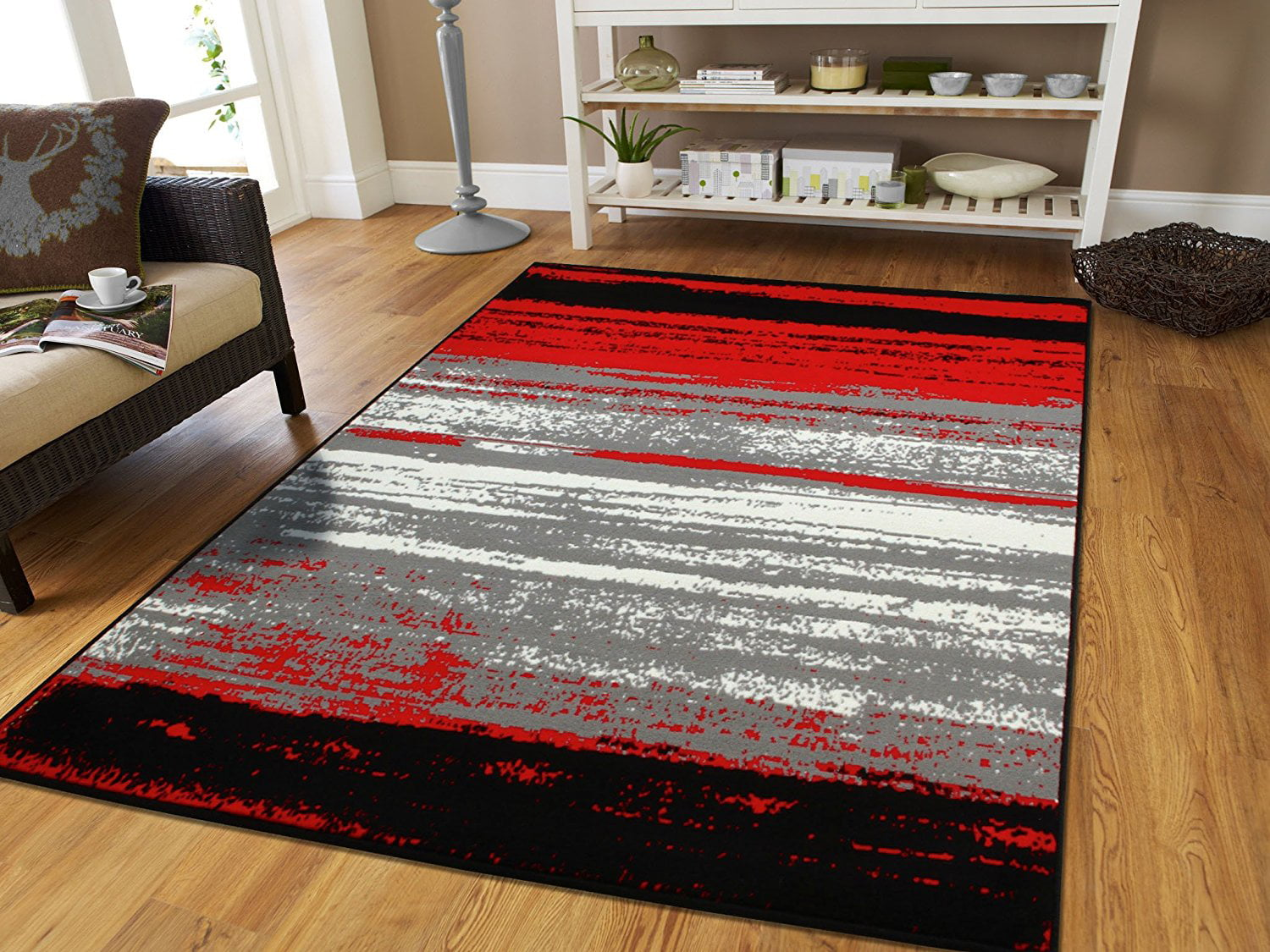 Large 8x11 Contemporary Area Rugs Red Black Gray 8x10 Area Rugs