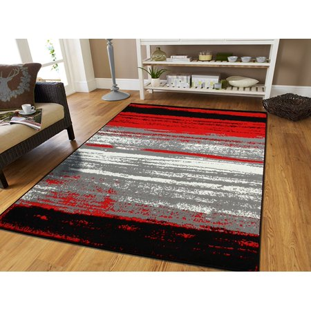 Large 8x11 Contemporary Area Rugs Red Black Gray 8x10 Under 100 Clearance